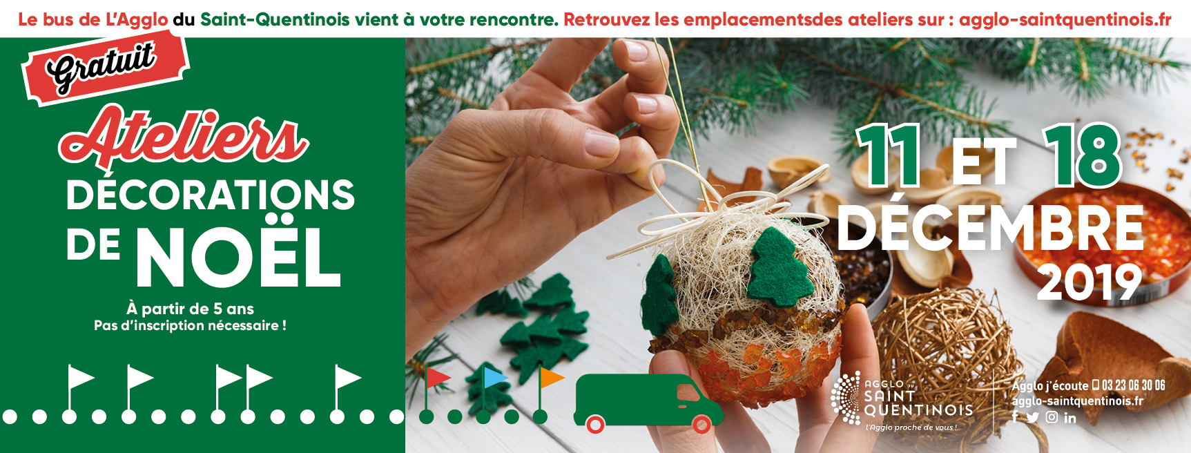 ♻️✂️Le bus de l'@AggloStQuentin vient à votre rencontre le 11 et le 18 décembre 2019 et vous propose de participer aux ateliers de fabrication de décorations de Noël à base d'objets recyclés à bord de notre bus itinérant !#AggloProcheDeVous agglo-saintquentinois.fr/agenda-133/ate…